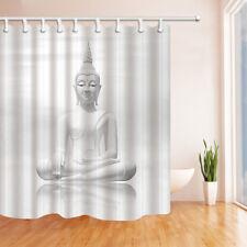 Buddha In Lotus Position Bathroom Shower Curtain Fabric w/12 Hook 71*71inch