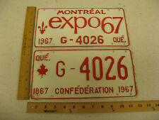 1967 67 QUEBEC PQ LICENSE PLATE MONTREAL EXPO PAIR G-4026