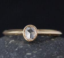 14k solid Gold ring natural rose cut diamond ring wedding ring oval ring DER410