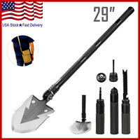 Military Portable Folding Shovel Multi Purpose Steel Spade Outdoor Survive Tool