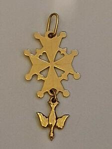 Pendentif Croix Huguenote en Or Jaune 18 carats tete d'aigle+Orfèvre.