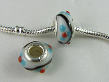 MURANO 925 STAMPED GORGEOUS  SILVER GLASS BEAD  EUROPEAN STYLE CHARM BRACELETS