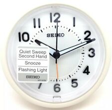 Seiko White  Bedside Desktop Alarm Clock With Light And Snooze QHE087W Batt Supp