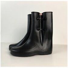Vintage NOS 1960s Black Vinyl Wet Look Mid Calf Galoshes Rain Boots Unworn 7