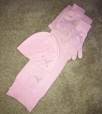 Puma 3 Piece Knit Scarf Hat Gloves w/BLING Crystal Logo Pink Winter Set