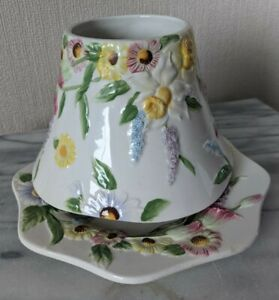 YANKEE CANDLE 'SPRING FLOWERS' LARGE SHADE/PLATE SET **VGC**