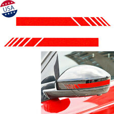 2X Red Stripe Reflective Vinyl Decal Fit For Universal Car Rear View Mirror Trim