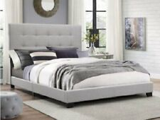 California Cal King Bed Frame Tufted Upholstered Headboard Bedroom Furniture Gry