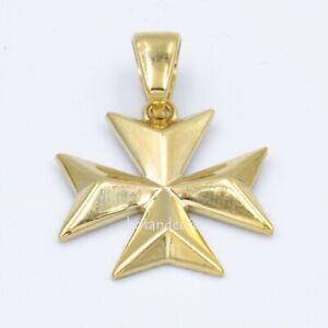 Solid Amalfi Malta MALTESE CROSS Hallmarked 9ct Gold 375 Pendant Charm Genuine