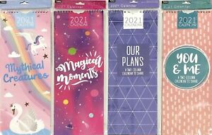 2021 Calendar Slim Month to View Family Spiral Photographic Wall Planner *