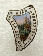 h340 Austria Wien Alpine Gesellschaft D'Holzerna 1912 Alp Mountain Edelweiss pin
