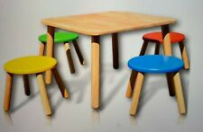 Pintoy Wooden Square Table & 4 Bright Colour Stool Set • Early Years