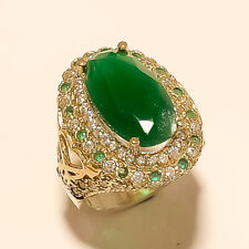 Silver TwoTone Christmas Fine Jewelry Natural Zambian Emerald Ring 925 Sterling