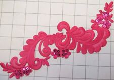 """9.5"""" by 3"""" Silky Fuschia Sequins Applique Iron on or Sew on Dance Costume (C-30)"""