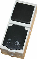 Feuchtraum Aufputz Schalter / Steckdose Kombination senkrecht grau IP54 Aufbau