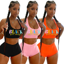 Fashion Women Letter Printed Scoop Neck Sleeveless Casual Sport Tracksuit 2pcs