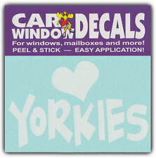 Car Window Decals: I Love Yorkies | Yorkshire Terriers | Stickers Cars Trucks