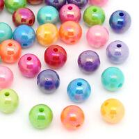 300 Mix Mehrfarbig Kugeln Rund Acryl Spacer Perlen Beads 8mm