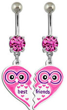 Owl Best Friends BFF 2 Piece Navel Bar Belly Ring Piercing BNABFOWL