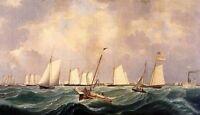 Oil painting Fitz Hugh Lane - New York Yacht Club Regatta Seascape Ocean Waves
