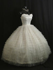 Vintage 1950's 50s Strapless White Tulle Lace Prom Party Wedding Dress Gown