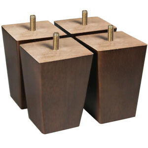 Square Wooden Sofa Legs 4 inch Furniture Couch Legs Dark Brown Set of 4
