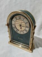 Vintage Bulova Green & Brass Quartz Clock Desk Mantle Travel Alarm Clock