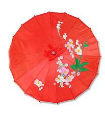 "Vintage Oriental Folding Red Wedding Party Nylon Bamboo Umbrella Parasol 15"""