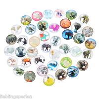 30 Mix Charm Elefant Rund Glascabochons Klebeperlen Klebesteine 12mm