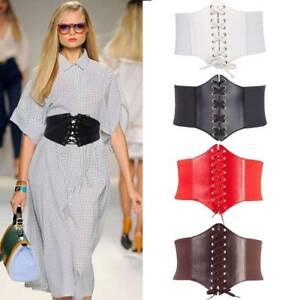 Women Ladies Waist Cincher Wide Band Elastic Tied Waspie Corset Belt Adustable