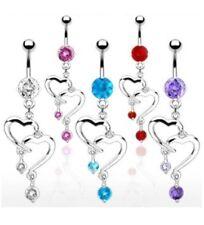 ROMANTIC DOUBLE HEART BELLY NAVEL RING CZ DANGLE B501