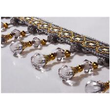 Vintage Crystal Bead Teardrop Beaded Trimming Fringe Sewing DIY Trim Craft 1M