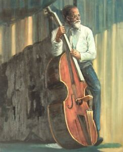 """24""""x20"""" Oil Painting on Canvas, The Base Player, Genuine Hand Painted"""