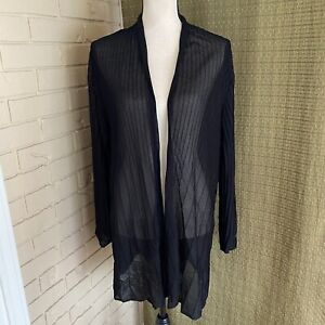 Eileen Fisher Woman Size 1X Sheer Ribbed Black Open Front Long Cardigan $298