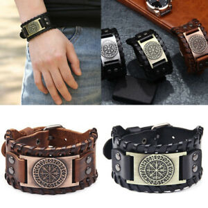 Men's Norse Viking Vegvisir Rune Leather Cuff Wristband Bracelets Amulet Jewelry