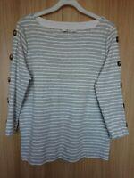 Tu Womens Grey/White Striped Jersey Top Size 12