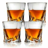 Set of 4 Twist Design Clear Glasses Old Fashioned Whiskey Tumblers - 10oz
