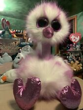 Ty Kenya -Frosted Lavender/White 18� Jumbo Beanie Boo Long-Haired Ostrich! *New*