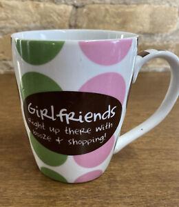 Pier One Mug Coffee Tea Pink/ Green/Brown Dots Girlfriends Booze Shopping Mudpie