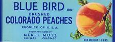 BLUE BIRD Vintage Palisade Colorado Peach, AN ORIGINAL FRUIT CRATE LABEL, 1950's