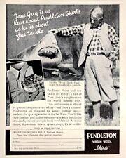 1938 Pendleton Virgin Wool Shirts ZANE GREY White Death Shark Original Print Ad