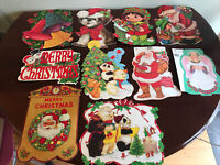 Lot Of 10 Vintage Cardboard Paper Die Cut Christmas Decorations Double-Sided