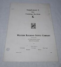 1944 WESTERN RAILROAD SUPPLY COMPANY CATALOG SUPPLEMENT