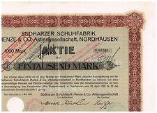 Südharzer Schuhfabrik...AG, Nordhausen 1922, 1000 Mark, ungelocht