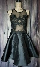 Womens Floral Lace Sheer Formal Strappy Prom Skater Dress Black Size L New