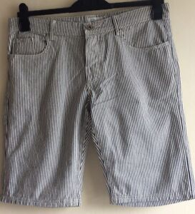 "Gents Another Influence Summer Shorts White/ Black Stripe 36"" Waist"