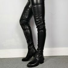 Women Block Heel Riding Over Knee Thigh Boots Round Toe Casual Knight UK 3-10.5