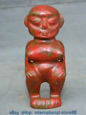 "7.8"" Old Chinese Hongshan Culture Old Jade Stone Turquoise Carving Women Statue"