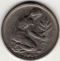 1950 F 50 PFENNIG GERMANY WORLD COIN NICE!
