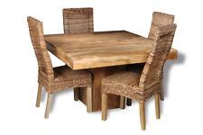 DAKOTA LIGHT MANGO FURNITURE 120CM CUBE DINING TABLE AND 4 RATTAN CHAIRS (32L)